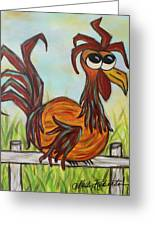 Ol' Rooster Greeting Card by Molly Roberts