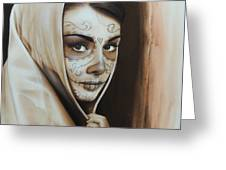 'Hepburn De Los Muertos' Greeting Card by Christian Chapman Art