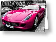 Her Pink Ferrari Greeting Card by Matt Malloy