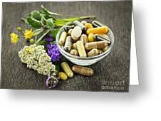 Herbal Medicine And Herbs Greeting Card by Elena Elisseeva