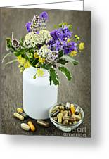 Herbal Medicine And Plants Greeting Card by Elena Elisseeva