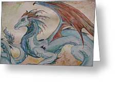 Here Be A Dragon Greeting Card by Nicole Caldwell