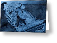 Heroes In Blue Drawing Greeting Card by David Hargreaves