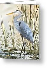 Heron And Cattails Greeting Card by James Williamson