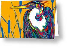 Heron Greeting Card by Derrick Higgins