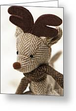 Herringbone Reindeer Greeting Card by Anne Gilbert