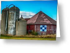Hexagon Quilt Barn Greeting Card by Paul Freidlund