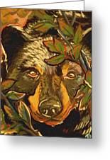 Hiding Bear Greeting Card by Jenn Cunningham