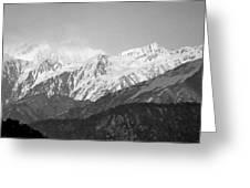 High Himalayas - Black And White Greeting Card by Kim Bemis