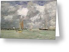 High Tide at Trouville Greeting Card by Eugene Louis Boudin