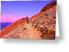 Hiking To Paradise Greeting Card by Ann Johndro-Collins