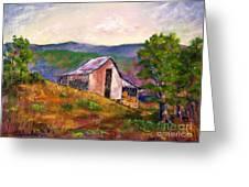Hillside Barn Greeting Card by Bruce Schrader