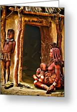 Himba Family By The Door Of Their Clay Hut Greeting Card by Paul W Sharpe Aka Wizard of Wonders