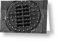 Hinged Manhole Cover Greeting Card by Lynn Palmer