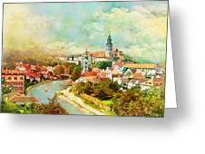 Historic Centre Of Cesky Krumlov Greeting Card by Catf