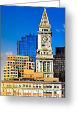 Historic Custom House Clock Tower - Boston Skyline Greeting Card by Mark E Tisdale
