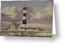 History Of Morris Lighthouse Greeting Card by Wanda Dansereau