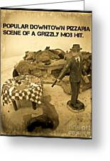 Hit On A Pizza Greeting Card by John Malone