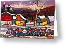 Hockey 4 Greeting Card by Carole Spandau