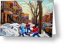 Hockey Art - Paintings Of Verdun- Montreal Street Scenes In Winter Greeting Card by Carole Spandau