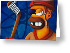 Hockey Homer Greeting Card by Marlon Huynh