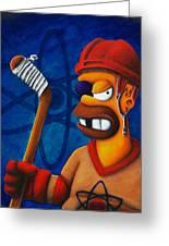 Hockey Homer Greeting Card by Marlon Huynh