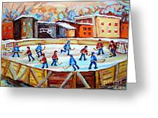 Hockey In The City Outdoor Hockey Rink Montreal Memories Winter City Scenes Painting Carole Spandau Greeting Card by Carole Spandau