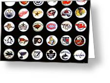 Hockey League Logos Bottle Caps Greeting Card by Barbara Griffin