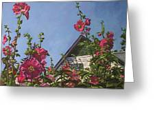 Hollyhocks At Green Gables Greeting Card by Christine Montague
