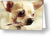 Hollywood Fifi Chika Chihuahua - Painterly Greeting Card by Wingsdomain Art and Photography