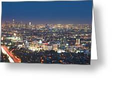 Hollywood Skyline Night Magic Hour Los Angeles Ca  Greeting Card by David Zanzinger