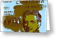 Homage To 'george Orwell' Greeting Card by Jeff Burgess