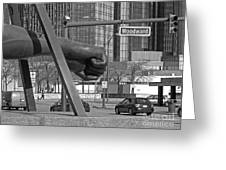 Homage To Joe Louis Bw Greeting Card by Ann Horn