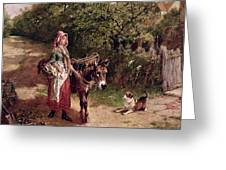 Home From Market Greeting Card by Edgar Bundy