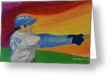 Home Run Swing Baseball Batter Greeting Card by First Star Art