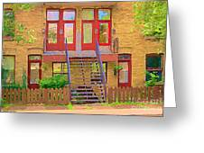 Home Sweet Home Red Wooden Doors The Walk Up Where We Grew Up Montreal Memories Carole Spandau Greeting Card by Carole Spandau