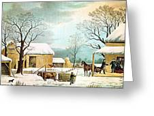 Home To Thanksgiving Greeting Card by Currier and Ives