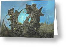 Homestead. Fantasy Cottage Landscape Fairytale Art By Philippe Fernandez  Greeting Card by Philippe Fernandez
