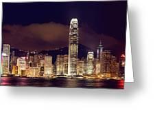 Hongkong Night Skylines Panorama  Greeting Card by Hakai Matsu