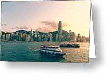 Hongkong Skyline On Clear Day Greeting Card by Hakai Matsu