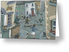 Hopscotch Down The Hill Greeting Card by Peter Adderley