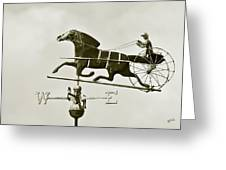 Horse And Buggy Weathervane In Sepia Greeting Card by Ben and Raisa Gertsberg