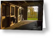 Horse Barn Sunset Greeting Card by Edward Fielding