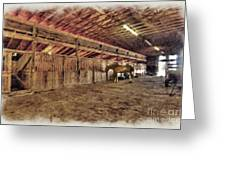Horse In Barn Greeting Card by Dan Friend