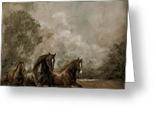 Horse Painting Escaping the Storm Greeting Card by Gina Femrite