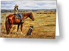 Horse Painting - Waiting For Dad Greeting Card by Crista Forest