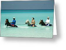 Horse Riders In The Surf Greeting Card by David Smith