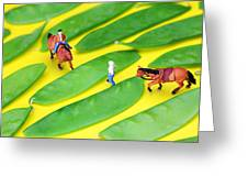 Horse Riding On Snow Peas Little People On Food Greeting Card by Paul Ge