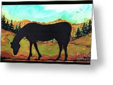 Horse Tail Trail Silhouette Greeting Card by MarLa Hoover
