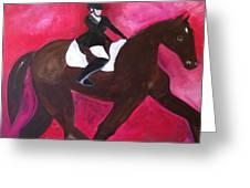 Horse With Rider Greeting Card by Christina Schott